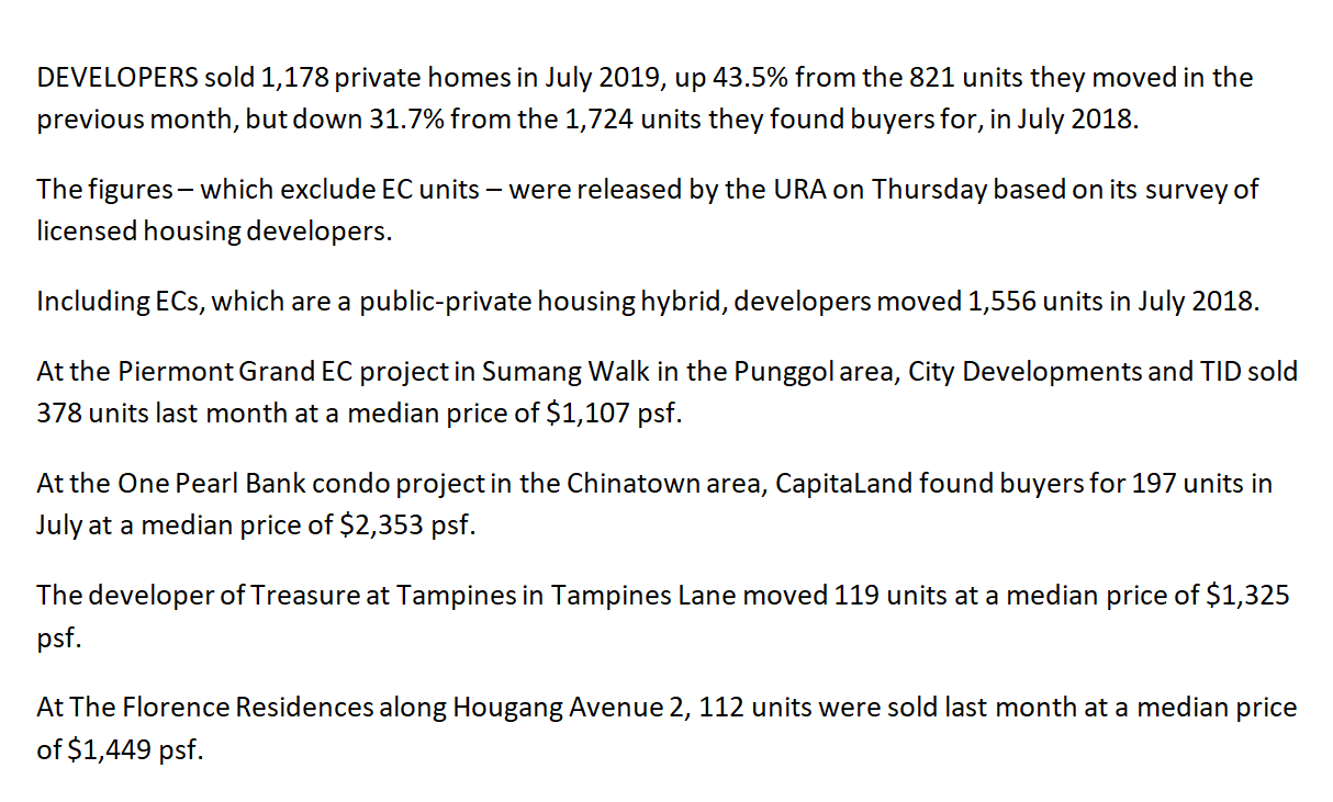 1,556-private-homes-including-EC-units-sold-in-July-up-89-per-cent-June-URA-news-paper-report