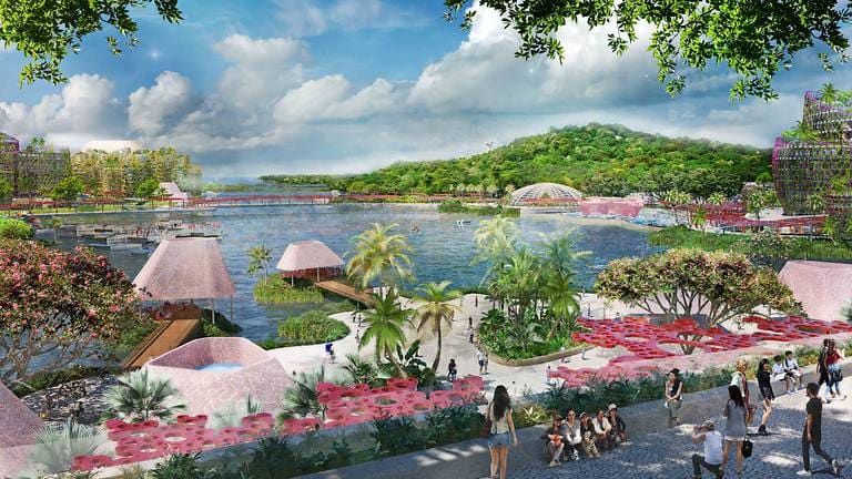 artist-s-impression-of-a-public-waterfront-promenade--foreground--and-mount-serapong--background-