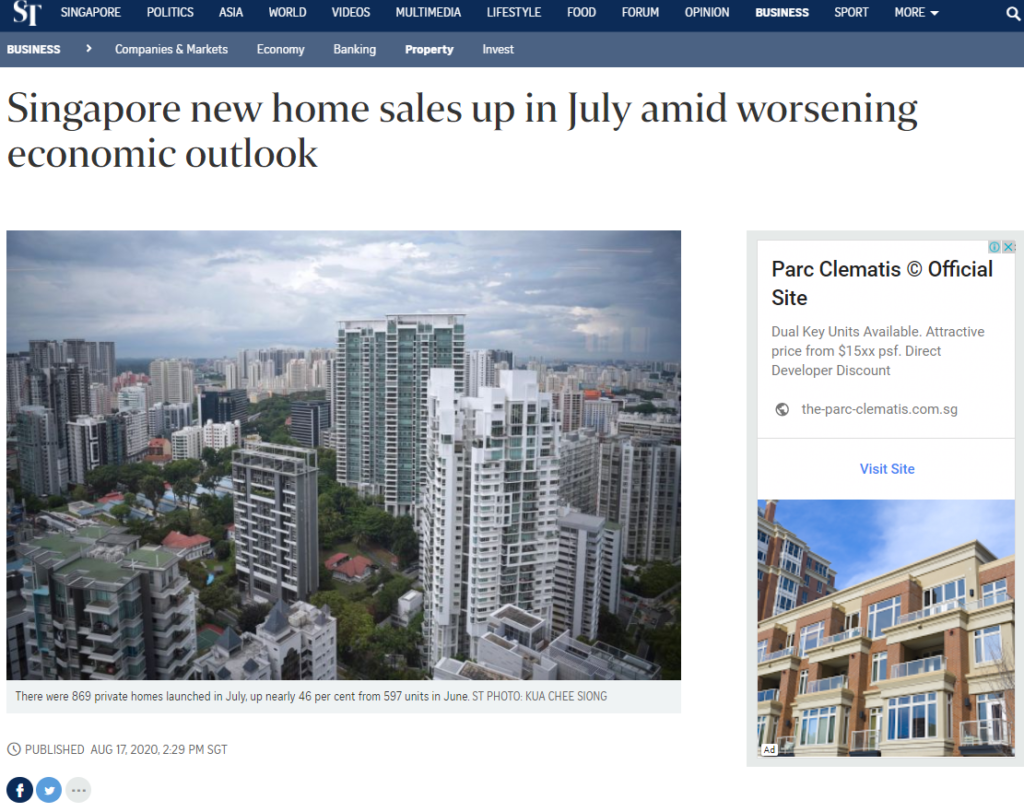 Singapore New Home sales Up In July